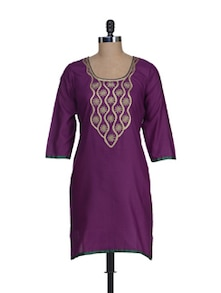 Elegant Purple Embroidered Kurta - RIYA