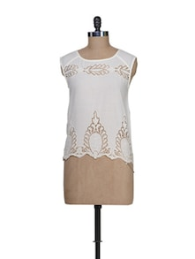 Cut Out Motif Top In Ivory - Stylechiks