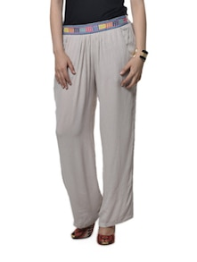 Relaxed Fit Pants With Embroidered Waist Band - Stylechiks