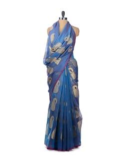 Organza Silk Banarasi Saree In Shades Of Blue And Gold - Bunkar