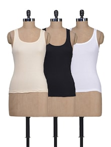 Beige, White & Black Tank Tops - Pack Of 3 - Lady Lyka