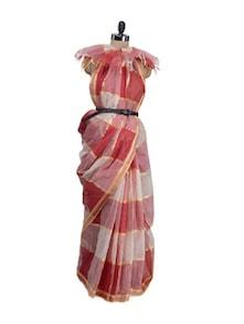 Traditional Bengali Saree In Gold And Red - Aadrika Saree