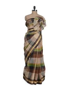 Multi Hued Square Weave Saree - Aadrika Saree