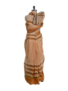 Striped Beige And Brown Saree - Aadrika Saree