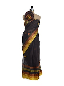 Black Saree With Rich Ambi Border - Aadrika Saree