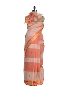 Kota Weave Saree In Orange - Aadrika Saree