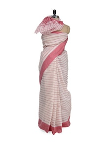 Simple Striped Saree In Red And Off White - Aadrika Saree