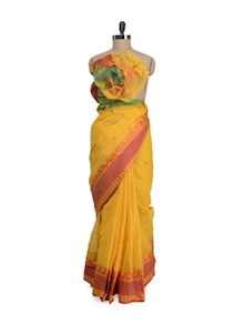 Cotton Yellow Saree With Red Ikkat Border - Aadrika Saree