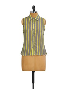 Grey And Yellow Striped Top - Mishka
