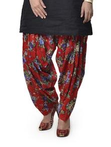 Red Floral Print Patiala Salwar - ETHNIC