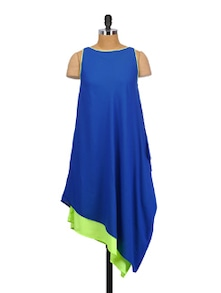 Blue And Green Layered Dress - Crazi Darzi