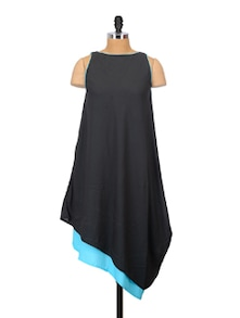 Blue And Black Layered Dress - Crazi Darzi