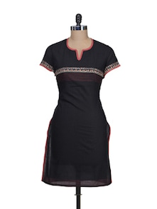 Elegant Black Embroidered Kurta - Vedanta