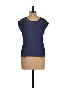 Navy Blue Lace Top - I AM FOR YOU