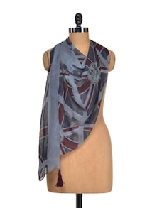 Flag Printed Georgette Scarf - I AM FOR YOU
