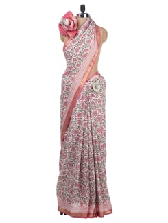 Block Printed Chanderi Saree - Cotton Curio 620