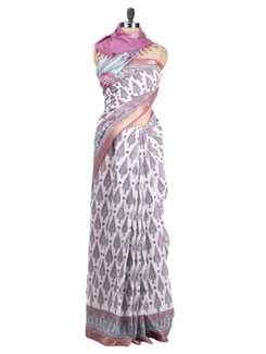 Block Printed Chanderi Saree - Cotton Curio 622