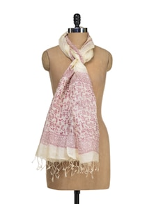Tusser Block Print Dupatta In Off White & Maroon - Eco Stree