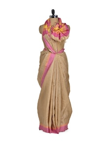 Beige Tusser Silk Saree With Brightly Striped Border - Eco Stree