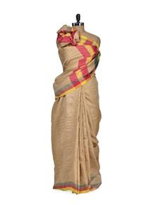 Tusser Silk Saree With Multi Striped Border - Eco Stree