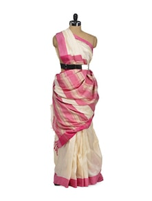 Tusser Silk Saree In Cream & Pink - Eco Stree