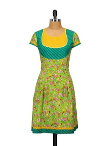 Field Fresh Green Kurti - Glam And Luxe