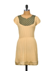 Beige Bliss Cotton Dress - Glam And Luxe