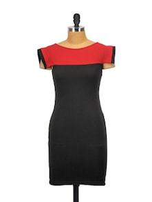 Red And Black Bold Dress - Glam And Luxe