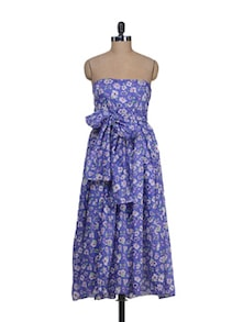 Violet Floral Tube Dress - Holidae