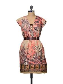 Printed Cotton Knee Length Dress - La Zoire