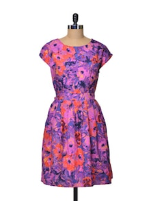 Floral Dress With Pleated Skirt - La Zoire