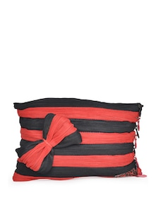 Striped Zipper Embellished Pouch - Use Me
