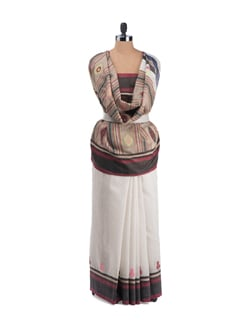 Tussar Silk Saree With Multicoloured Patterns And Stripes - Desiweaves