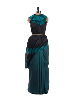 Lake Blue And Black Saree With Chanderi Silk Pallu - Desiweaves