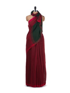 Green & Red Colour Block Linen Saree - Desiweaves