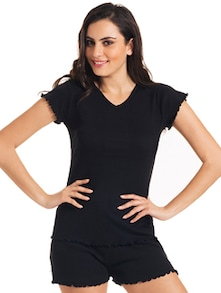 Comfortable Cotton Tee In Black - Slumber Jill