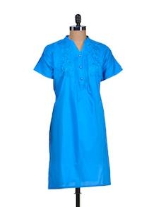 Bright Blue Kurti With Embroidered Yoke - Paislei