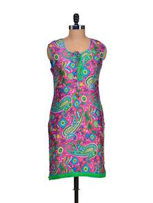 Printed Pink & Green Kurta - Paislei