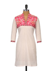 White And Pink Cotton Kurta - Sohniye