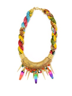 Twisted Necklace With Molten Gold Spring Accent And Ombre Dyed Yarn Beads - Accessory Bug