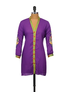 Purple Kurti With Embroidered Sleeves - Indricka