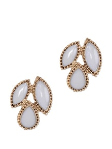 White And Gold Ear Studs - Toniq