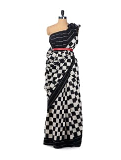 Black & White Chessboard Ikat Saree - Uppada