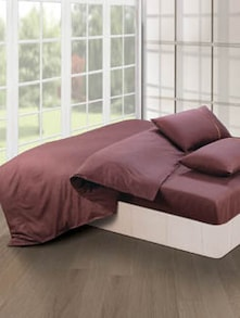 Luxe Choco Brown Bedsheet With Pillow Covers - Oxford