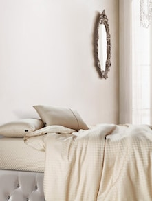 Luxe Beige Bedsheet With Pillow Covers - Oxford