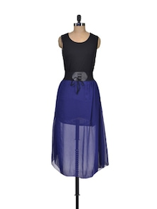 Navy Blue Sheer Dress - Shimaya