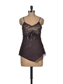 Brown And Gold Fashionable Top - Shimaya
