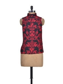 Red And Black Polyester Top - Shimaya