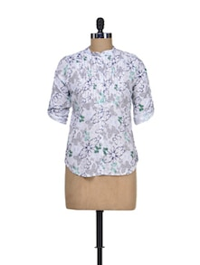 Flower Printed Cotton Shirt - Silk Weavers