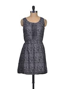 Black And Grey Polyester Dress - Silk Weavers